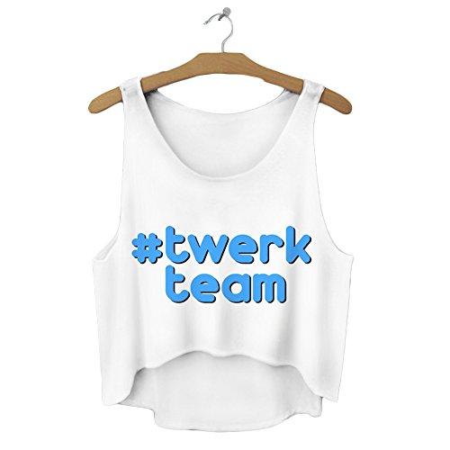 Bauchfreies Oberteil für den Sommer, Tank Top, weiß, Bluse für Damen und Mädchen, Größen S/M/L - Twerk Team