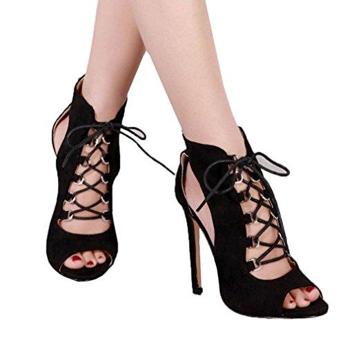 Stiefel Heels Womens (Malloom® Frauen High Heel Pumps Lady Martin Stiefel Mädchen Heel Stiefel Verband Hohl Sandalen Kristall Kreuz Riemen Grobe Ferse Sandalen Schwarz (38, Schwarz))