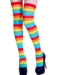 c8fb22f9021 KaloryWee Chaussette Haute Coton Au-dessus Du Genoux Cuisse Femme Socquette  Bas Chic