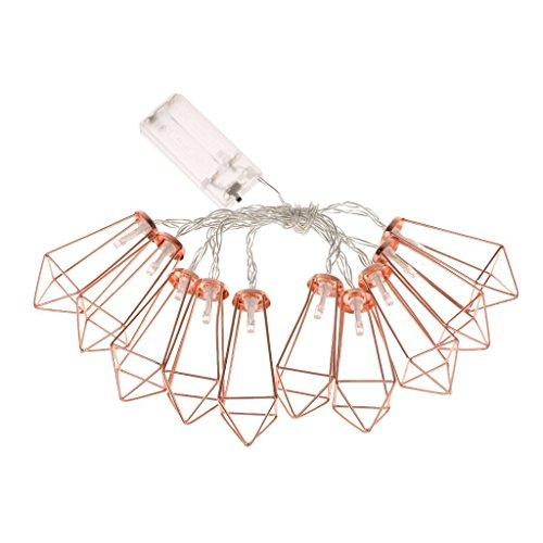 SODIAL 10LED Rosegold Eisen Diamant Form Fairy String Lichter Hochzeit Party Weihnachten Indoor Outdoor Dekoration Batterie Betrieben(warmweiss) (Weihnachten Dekorationen Für Das Büro)