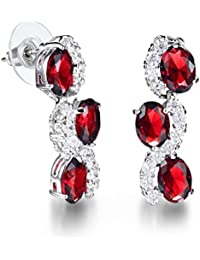 Yellow Chimes Red Wine High Grade Crystal Earrings for Women and Girls