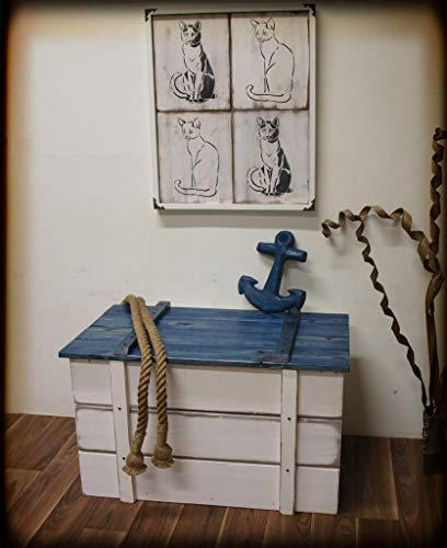 Maritime Katzentoilette, Katzenklo, Truhe'Sylt' Vintage-Look, Massivholz