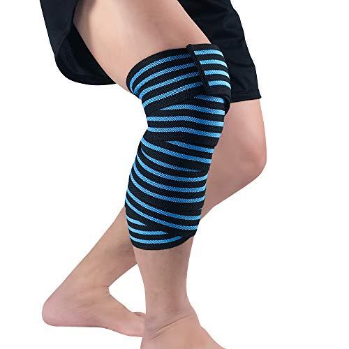 Huiuk Kniebandage Kompression Elastizität Kniebandage Wrap-Around Wadenschiene UnterstützungArthritis Sehnenentzündung Schmerzlinderung Für Gewichtheben Outdoor-Sportarten (1 Paar),Blue -