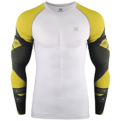 Zipravs Homme Sport Training Active Wear Compression T Shirt Long Sleeve