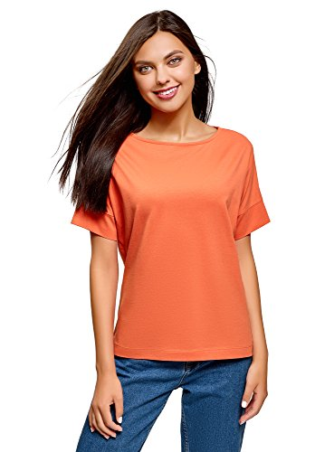 oodji Ultra Damen Tagless T-Shirt Basic aus Baumwolle, Orange, DE 38 / EU 40 / M