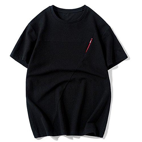 Herren-T-Shirt, Sommer Herren, Kurzarm-T-Shirt, runder Kragen Half-Sleeve Herren Primer, m-XXXXL, Schwarz, XXXX-Large -