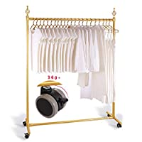 Clothes rack, Drying Rack Locking Pulley Single Pole Hangers Hollow Decoration Clothing Display Stand TINGTING-garment rack (Color : Gold, Size : Pulley)