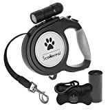 SCENEREAL Extendable dog lead - 26 FT Retractable Dog Lead - Heavy Duty Lead with LED Flash Light & Poop Bag Dispenser for up to 110 LB Medium Large Dogs Outdoor Walking & Training