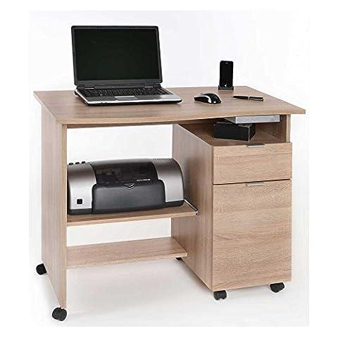 Rollbarer Schreibtisch mit Druckerablage Eiche Sägerau