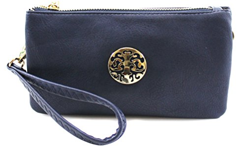 Colourful Summer Girl con effetto fiore breve - Borsa in ecopelle morbida e ricamato Navy