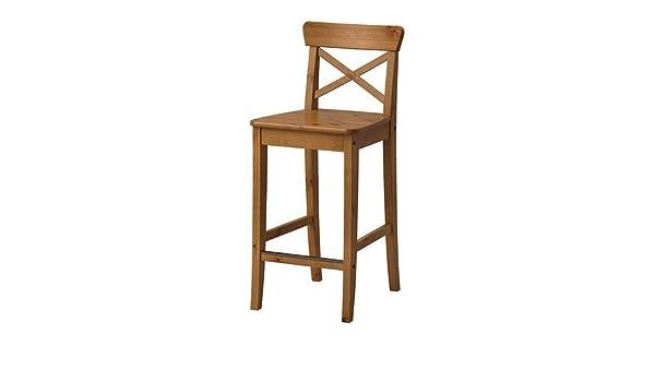 Ikea ingolf sgabello da bar con schienale anticato. 63 cm