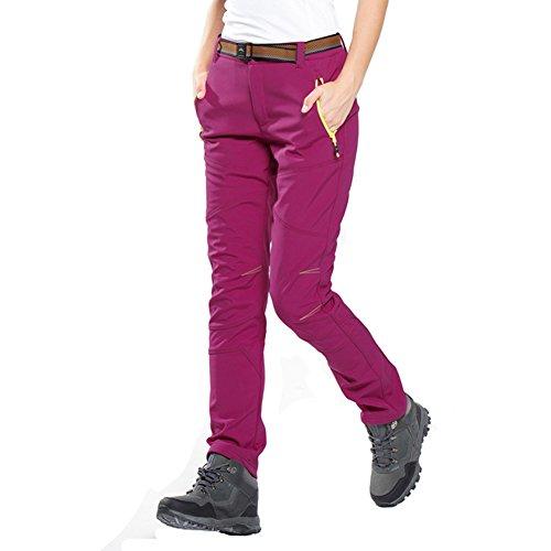 Homme Pantalon Femme Softshell Outdoor Sport Coupe-vent Camping Imperméable Randonnée Trekking Pantalon Femme-Pourpre