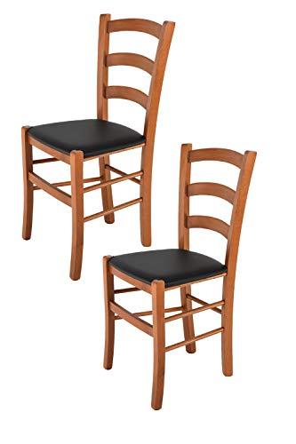 Tommychairs 2er Set Stühle Venice, Robuste Struktur aus lackiertem Buchenholz im Farbton Kirschbaum und Sitzfläche mit Kunstleder in der Farbe Schwarz bezogen. Set Bestehend aus 2 Stühlen Venice (Kirschbaum Esszimmer Stühle)