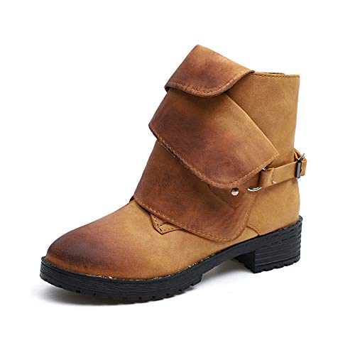 SCHOLIEBEN Chelsea Ankle Boots Damen Stiefel Winter Halbschaft Kurzschaft Chukka Schuhe Motor Combat Desert Keilabsatz Absatz High Heel Plateau