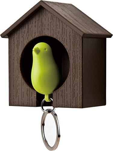Unbekannt Qualy QL10091BR-G Schlüsselhalter anhänger und Trillerpfeife Sparrow Key Ring, braun/grün