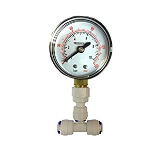 The Water Filter Men Pressure Gauge for Aquarium RO Reverse Osmosis System with 1/4
