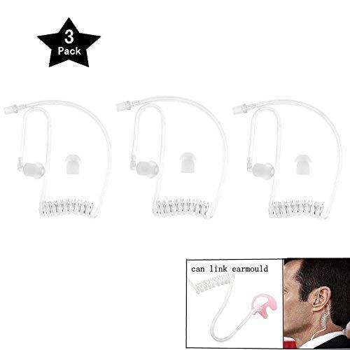 Ersatz-Akustikspule Audio Air Tube mit In-Ear-Kopfhörern für Zwei-Wege-Radio-Headset-Kit, Walkie-Talkie-Kopfhörer, Weiß, 3er-Pack, von Ltsstoreuk