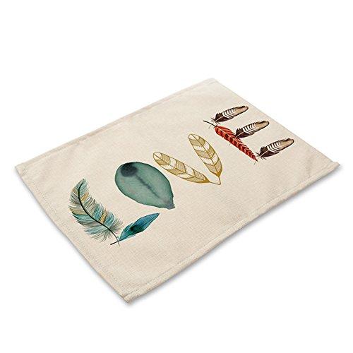 Treestar Chiffon de coton Lin Table Tapis antidérapant lavable Environnementale Ménage Napperon Isolation coloré Motif plumes d'impression Tapis de bol, love, 42 x 32 cm