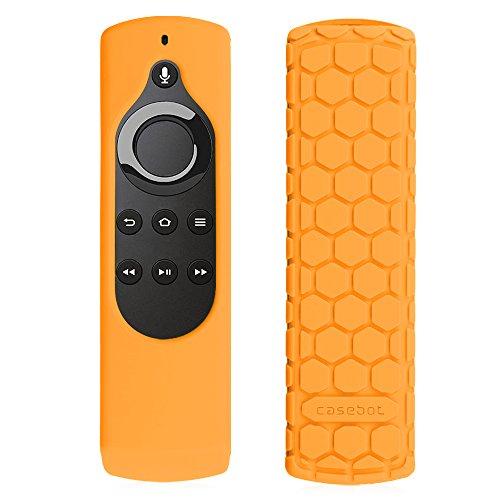 CASEBOT Hülle für Fire TV mit 4K (2017) / 2. Gen Fire TV Stick Alexa-Sprachfernbedienung und Amazon Echo/Echo Dot Alexa Voice Remote - Leichte Rutschfeste Stoßfeste Silikon Schutzhülle, Orange