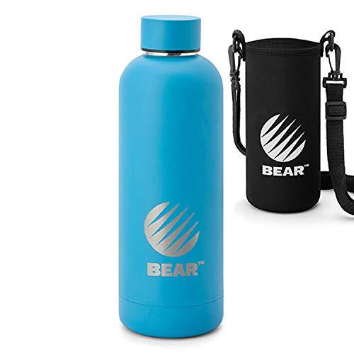 BEAR® Edelstahl Trinkflasche (500ml) in Blau. Vakuum Isolierte Thermosflasche, BPA Frei, Auslaufsichere Wasserflasche, Sportflasche für Outdoor, Büro & Kinder, inkl. Tragetasche
