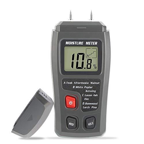 Digitaler Feuchtigkeitsmesser,Holz Feuchtemessgerät mit 2 Pins Sensor Feuchtigkeits-Detector Thermometer für Holz Wände und Böden Baumaterialien