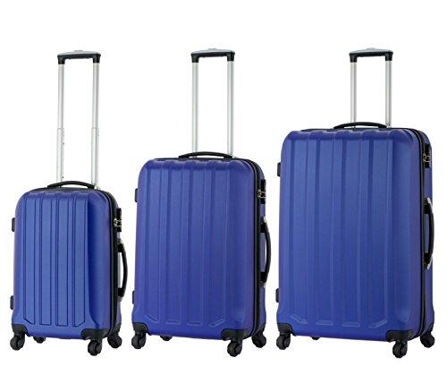 Cahoon - Reisekoffer Set 4-Rollen Trolley Koffer Set Hartschale M/L/XL (blau)