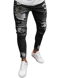 cdbcc8d132bb8 Pantalones Slim para Hombre Biker Zipper Pantalones Vaqueros Pantalones  deshilachados Flacos Pantalones Rip con Distressed
