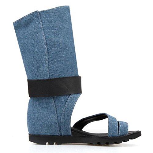 TAOFFEN Femmes Chaussures Bout Ouvert Talons Compenses Ete Sandales De Bouton 569 Bleu Fonce