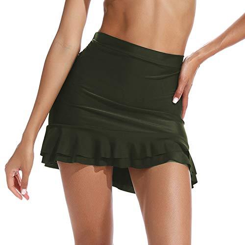 RIOJOY Damen Retro Hohe Taille Bikini Bottom Rüschen Seite Retro Vintage Badeshorts Tankinis Slip - - Large - Seite Rüschen