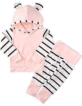 SCFEL Neugeborenen Baby Mädchen Tier Ohr Langarm Hoodie Tops + Streifen Hosen 2 stücke Outfits