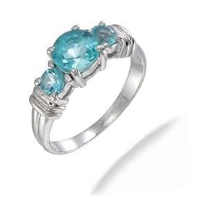 VirJ 925 Sterling Silver Blue Topaz Ring - Size O