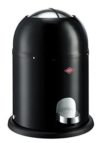 Wesco Mülleimer Mini Master 6 Liter, pulverbeschichtetes Stahlblech, schwarz, 26,4x26,4x36cm,