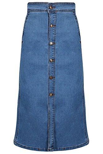 Be Jealous Damen Knopfverschluss Midi Jeansrock Freizeit hohe Taille A-Linie Jeans Rock UK Größe 8-14 - Denim Blau, Small (UK 8) (Denim Jean Rock Faded)