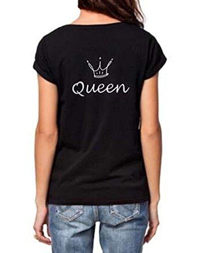 ZKOO Coppia Manica Corta Maglietta KING & QUEEN Corona Stampa T-Shirt Camicetta Camicia per Lovers Casuale Moda Donna Maschile Nero QUEEN