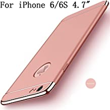 """iPhone 6s Case, iPhone 6 4.7"""" Case,Heyqie Ultra-thin 360 Full Body Anti-Scratch Shockproof Hard PC Non-Slip Skin Smooth Back Cover Case with Electroplate Bumper For Apple iPhone 6 6s 4.7"""" - Rose Gold"""