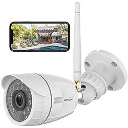 wansview Caméra Surveillance WiFi Extérieure, Full HD 1080P Caméra IP de Sécurité Étanche avec Vision Nocturne, Détection de Mouvement, Accès à Distance, Fonctionne avec Alexa-W4 Blanche