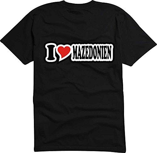 T-Shirt I Love Heart Herren I LOVE MAZEDONIEN Schwarz