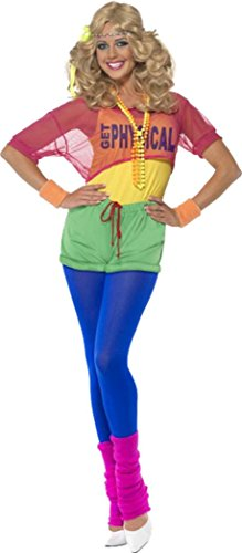 Smiffys Erwachsene Damen 1980 's Fancy Dress Kostüm Let 's get Physical Girl Komplettes Outfit (1980's Kostüm Party)