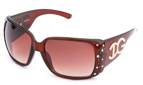 IG Rhinestone IG Plastic Butterfly Oval Style High Fashion Rhinestone Sunglasses in Brown