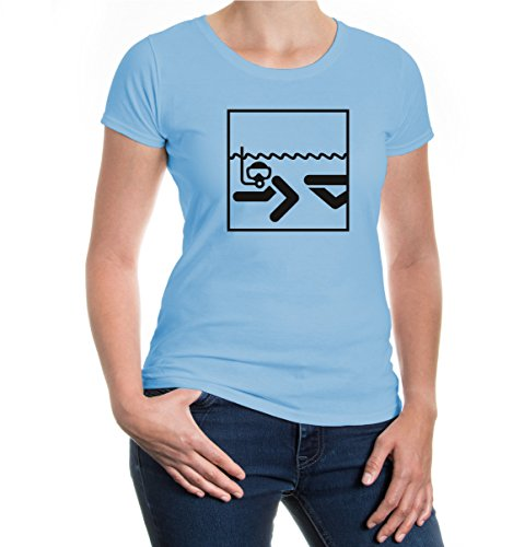 buXsbaum® Girlie T-Shirt Schnorcheln-Piktogramm Skyblue-Black