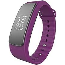 Pulsera Inteligente, LINTELEK ®Activity Track con monitor de Podómetro,Sueño,Contador de Calorías,Bluetooth 4.0,para iPhone iOS 8.0, Android 4.4 (Sin Ritmo Cardíaco),Purple