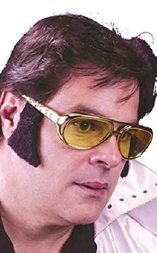 Herren 1950s Jahre Gelbe Sonne Brille mit Koteletten Music Prominent Berühmt Person Kostüm Verkleidung (Berühmte Personen Kostüm)