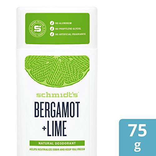 Schmidt's Déodorant d'Origine Naturelle Stick à La Bergamote & Citron Vert 75g  Certifié Vegan et Efficace 24h