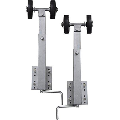 Festnight 2er-Set Sliprollen mit Pendel Höhe von 59-84 cm Stahlrahmen für Bootsanhänger