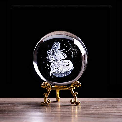 ZHANGJ 3D Lasergravur Jungfrau Kristallkugel Engel Konstellation Briefbeschwerer Haushaltskunst Dekoration Kunsthandwerk Feng Shui Globus, Kugel und Goldsockel, 8 cm