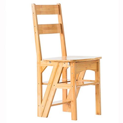 WSSF- Klappstufen Einfacher 4-Stufen-faltbarer Leiter-Schemel-Stuhl mit Widen Tread Safety Locking Dual-verwenden Sie natürlichen Bambus Stepladder-Schemel-Haushalts-Innengarten-u. Küchen-Werkzeug-einfache Speichertreppenhaus-Schemel-Farbe wahlweise freigestellt, 35 * 38 * 90cm ( Farbe : Holzfarbe )