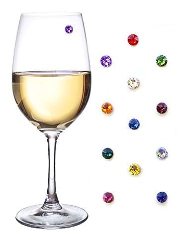 Swarovski Cristal Vin magnétique en verre Charms–Lot de 12–Idéal pour les verres sans pied
