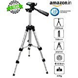 Rewy 3110 Portable & Foldable Camera Mobile Tripod With Mobile Clip Holder Bracket , Fully Flexible Mount Cum Tripod , Standwith Three-dimensional Head & Quick Release Plate Only 150 gm For Smartphones, Action & DSLR Cameras {Silver}