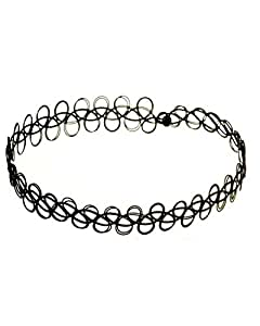 Young & Forever Vintage Stretch Tattoo Black Plastic Choker Necklace For Women