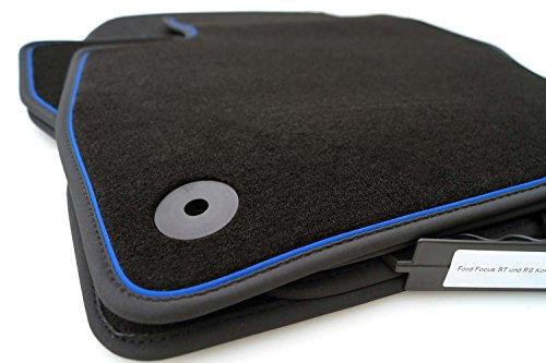 ford focus mk3 tuning teile kh Teile Fußmatten/Velours Automatten Original Qualität Premium Schwarz mit Blauem Band